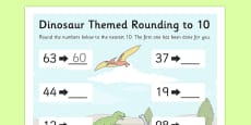 Dinosaur Themed Rounding To 10 Activity Sheet