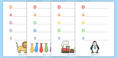 Father's Day 'Daddy' Acrostic Poem Templates