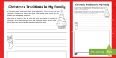 Christmas Traditions in My Family Read and Draw Activity Sheet