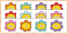 Year 1 Common Exception Words on Flowers