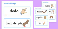 Parts of the Body Topic Word Cards Spanish