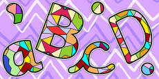 Stained Glass Window Display Lettering Lowercase