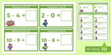 Subtraction From 10 Cards