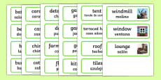 Houses and Homes Topic Word Cards Spanish Translation