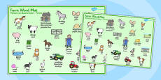 On the Farm Word Mat Polish Translation