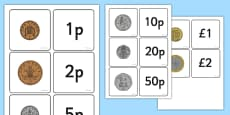 Coin Value Matching Card Activity