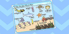 Under the Sea Scene Word Mat Arabic Translation