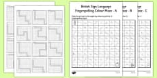 British Sign Language Left Handed Fingerspelling Colour Maze Alphabet Pack