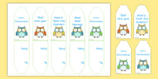 Cute Owl Themed End of Year Editable Gift Tags