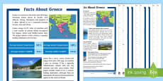Facts About Greece Differentiated Reading Comprehension Activity