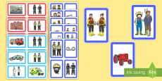 Jobs, Place of Work, Tools and Vehicles Matching Cards