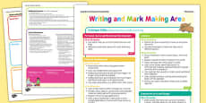 Writing and Mark Making Area Continuous Provision Plan Posters Nursery FS1