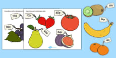 Priced Pieces of Fruit Cut-outs Multiples of 2p