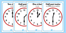 O'clock and Half Past on Clocks Romanian Translation