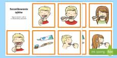Karty do porządkowania Szczotkowanie zębów