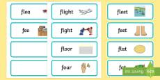 'fl' and 'f' Near Minimal Pair Word Cards