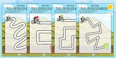 Tour de France Themed Pencil Control Path Activity Sheets