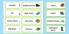 Shoe Shop Role Play Word Cards