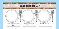 Meal Time Writing Templates German