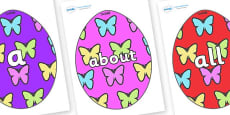 100 High Frequency Words on Easter Eggs (Butterflies)