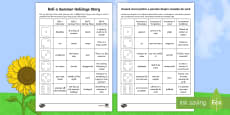 Roll a Summer Holidays Story Storyboard Template English/Romanian