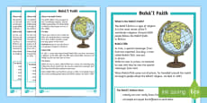 * NEW * KS1 Bahai'i Faith Differentiated Fact File
