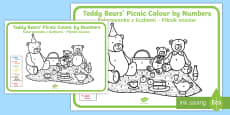 * NEW * Teddy Bears' Picnic Colour by Numbers English/Polish