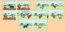 The Little Red Hen Story Sequencing 4 per A4 Speech Bubbles Polish Translation