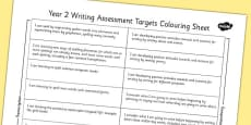 2014 Curriculum Year 2 English Writing Assessment Targets Colouring Sheet