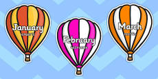 Months of the Year on Hot Air Balloons Stripes Romanian Translation