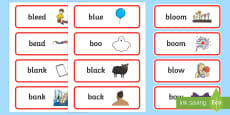 'bl' and 'b' Near Minimal Pair Word Cards