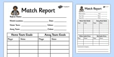 Football World Cup Role Play Match Report Writing Frame
