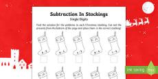Single digit subtraction Christmas Activity Sheet