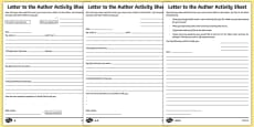 Letter to the Author Differentiated Activity Sheet Pack