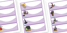 Editable Drawer Peg Name Labels to Support Teaching on Room on the Broom