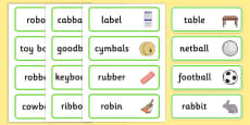 Medial 'b' Word Cards