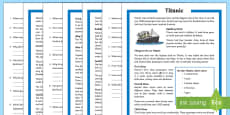 Titanic Differentiated Reading Comprehension Activity