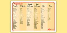 Adjective Word Mat