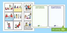 Classroom Behaviour Sorting and Discussion Cards English/Polish