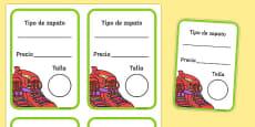 Etiquetas de caja de zapato La zapatería