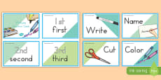Ordinal Number Picture Direction Cards USA