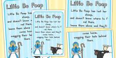 Little Bo Peep Nursery Rhyme Poster (Australia)