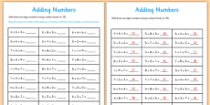 Adding Three One Digit Numbers Lesson 1 Using Number Facts to 10 Activity Sheet