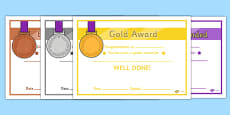 The Olympics 2012 Awards Certificates (Gold Silver and Bronze)