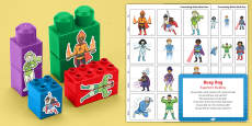 Superhero Building Activity Busy Bag Prompt Card and Resource Pack