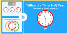 Telling the Time Half Past English/Polish