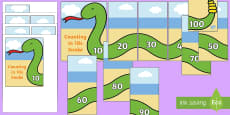 Counting in 10s Snake Puzzles