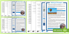 History of Transport Differentiated Reading Comprehension Activity