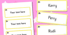 Bumble Bee Themed Editable Drawer-Peg-Name Labels (Blank)