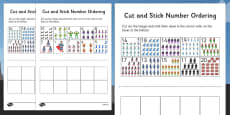 Superhero Themed Cut and Stick Number Ordering Sheets 1-20